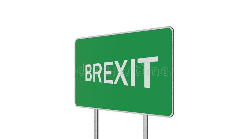 Brexit Concept. Road Sign Depicting Great Britain Departing European Uniun. Brexit Concept Road Sign Depicting Great Britain Departing European Uniun stock illustration