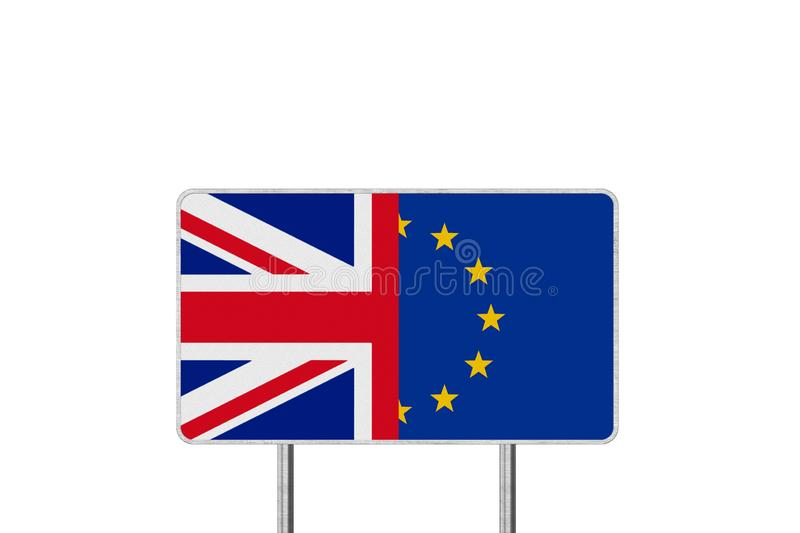 Brexit Concept Road Sign With Half of European Union flag and Great Britain flag. Brexit Concept. Road Sign With Half of European Union flag and Great Britain royalty free illustration