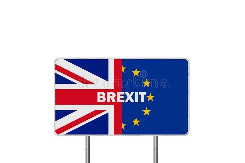 Brexit Concept. Road Sign With Half of European Union flag and Great Britain flag. Brexit Concept Road Sign With Half of European Union flag and Great Britain stock illustration