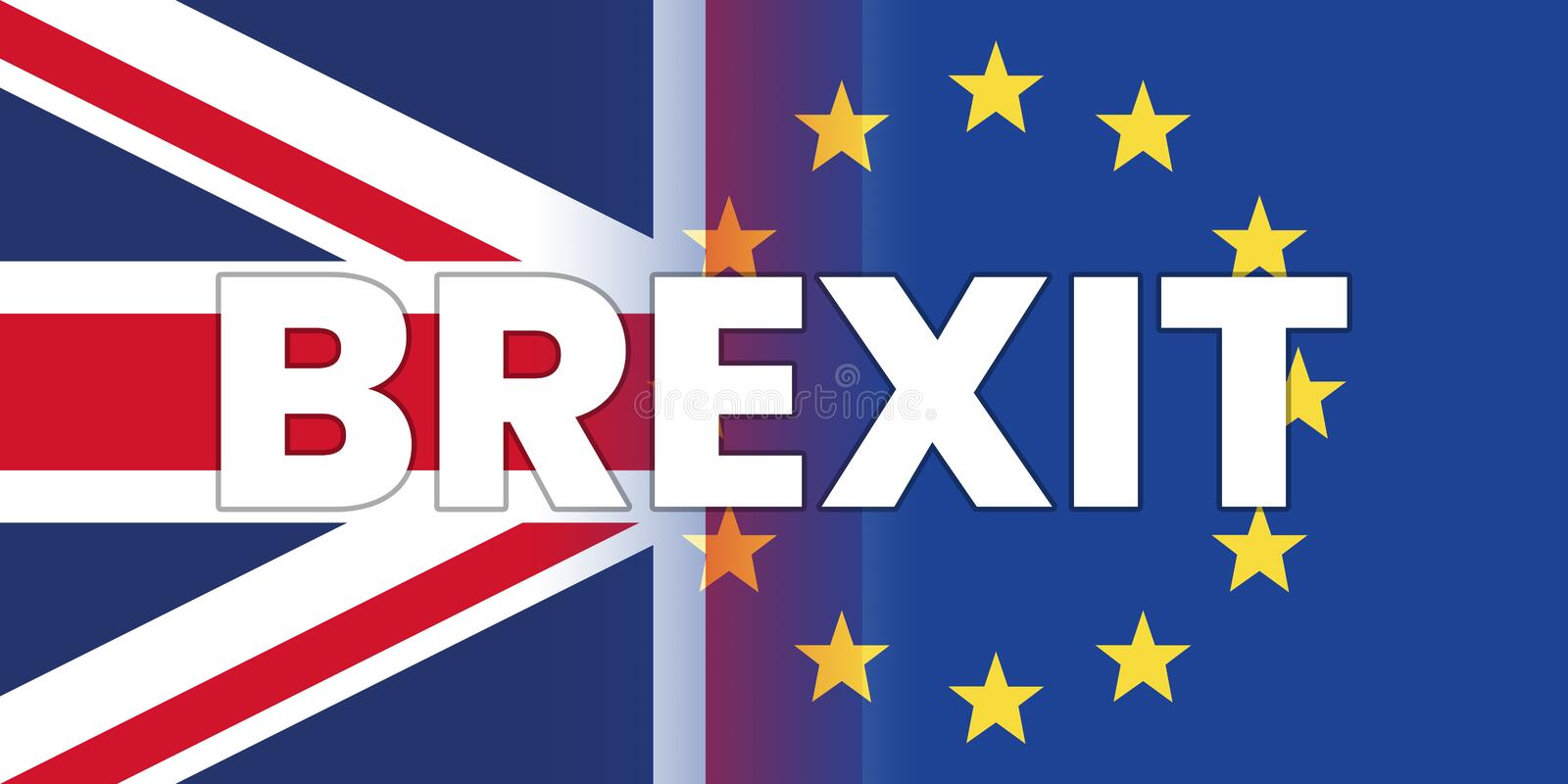Brexit Concept with UK Flag and European Union Flag with BREXIT Wording stock illustration