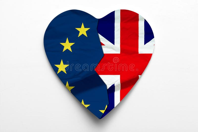 Brexit concept of UK leaving European Union. Union Jack and EU flags form a heart stock illustration
