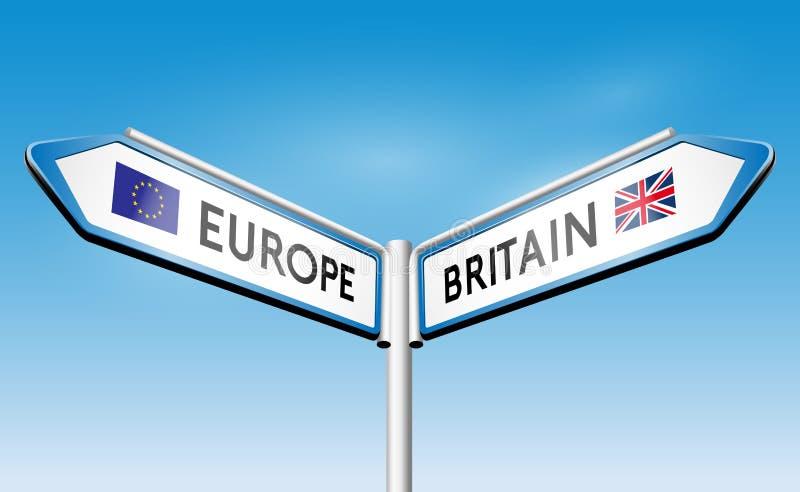 Brexit - concepto del poste indicador stock de ilustración