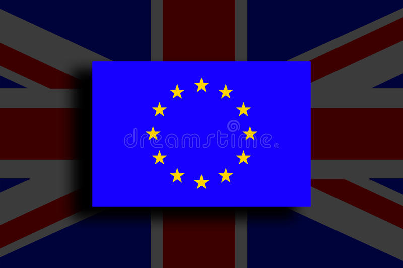 Brexit - Conceptual image. Brexit - European Union Flag With Great Britain. Conceptual image royalty free illustration