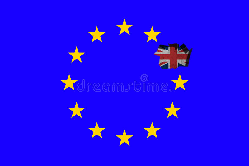 Brexit - Conceptual image. Brexit - European Union Flag With Great Britain. Conceptual image stock illustration