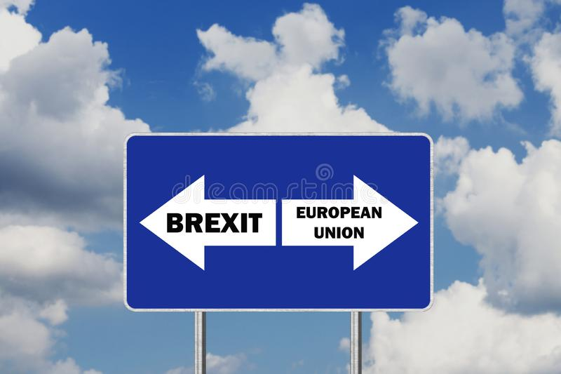 Brexit Deal or European Union. Road sign With Arrows and Text. Against Sky Background royalty free illustration