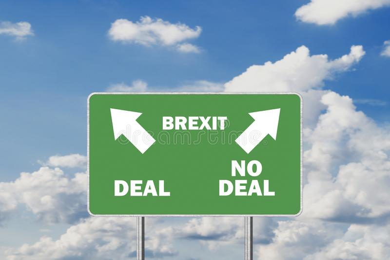 Brexit Deal or No deal concept. Road sign With Arrows and Text. Against Sky Background royalty free illustration