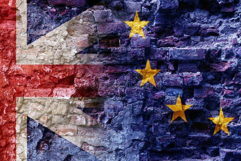 Brexit, drapeaux de l'Union européenne et le Royaume-Uni comme OV image stock