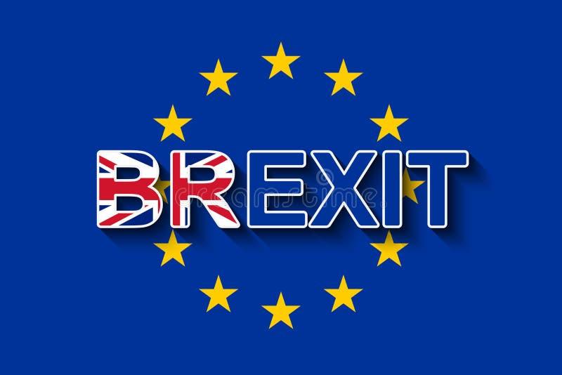 BREXIT en la bandera de la UE - UK& x27; retiro de s de la UE ilustración del vector