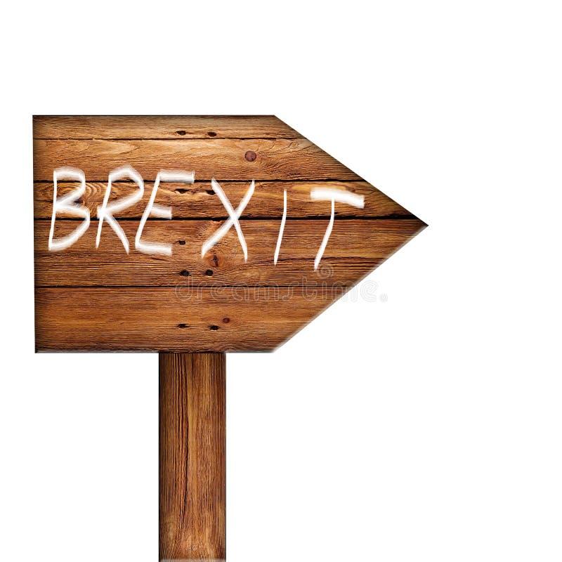 Brexit escrito no sinal de madeira contra o fundo branco fotografia de stock royalty free