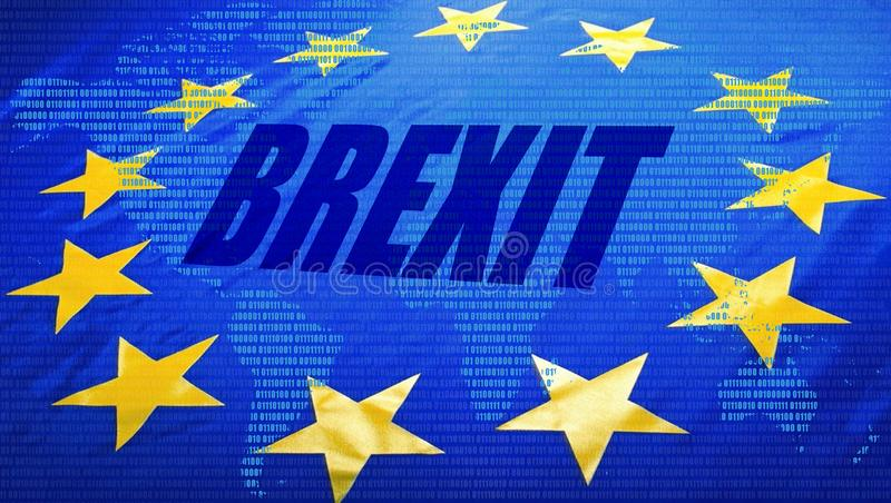 Brexit, EU-Flagge und Weltkarte stockbilder