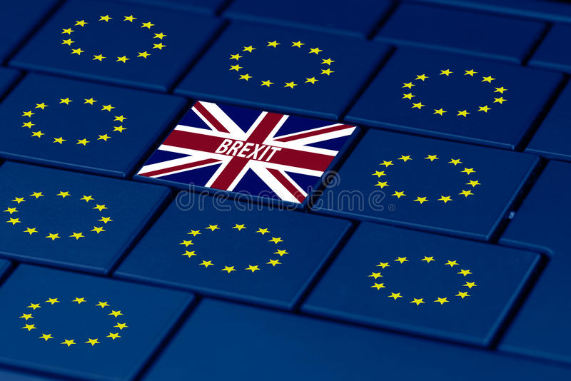 Brexit and eu symbol in pc keyboard stock illustration