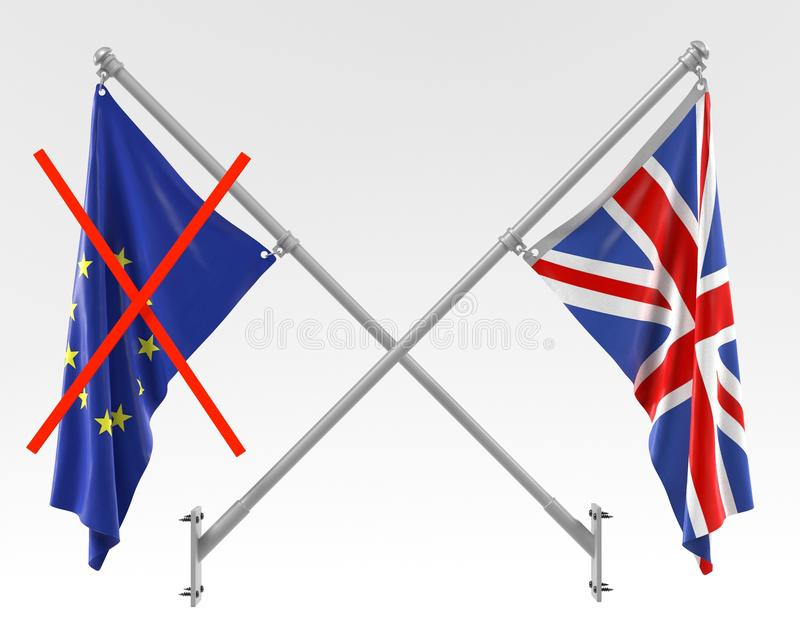 Brexit - EU and UK Flags. 3d render of Brexit - EU and UK Flags vector illustration