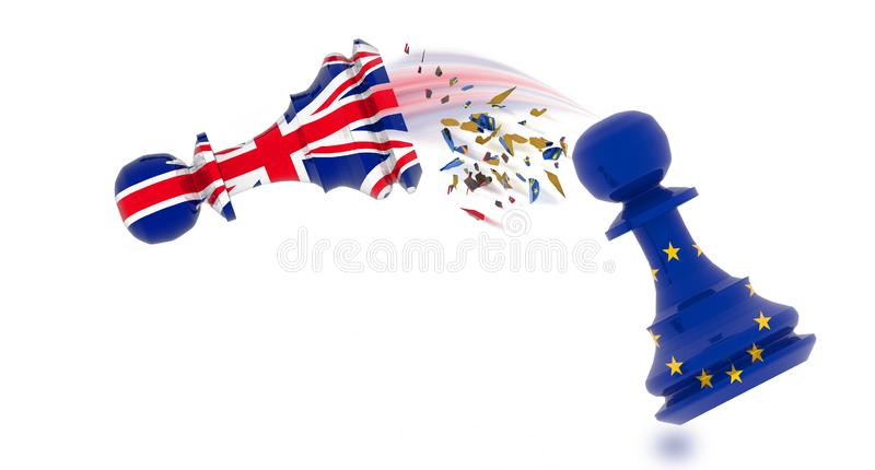 Brexit europe european union pawn chess - 3d rendering royalty free illustration