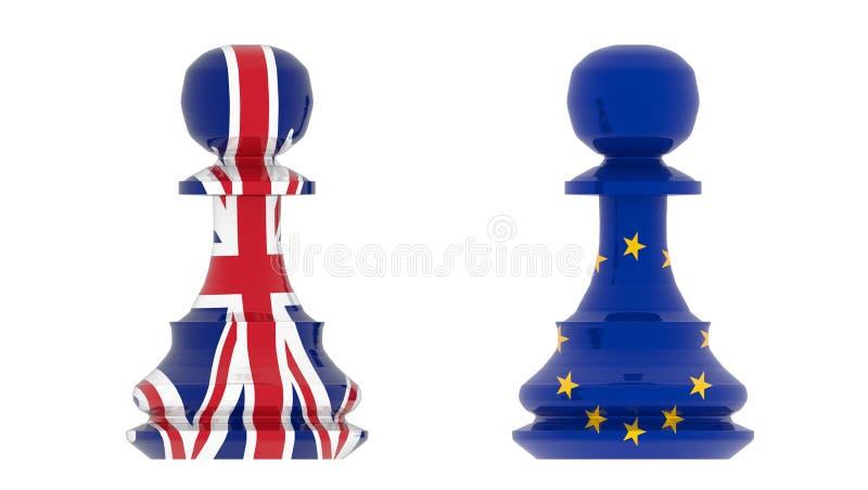 Brexit Europe unii europejskiej zastawniczy szachy - 3d rendering ilustracja wektor