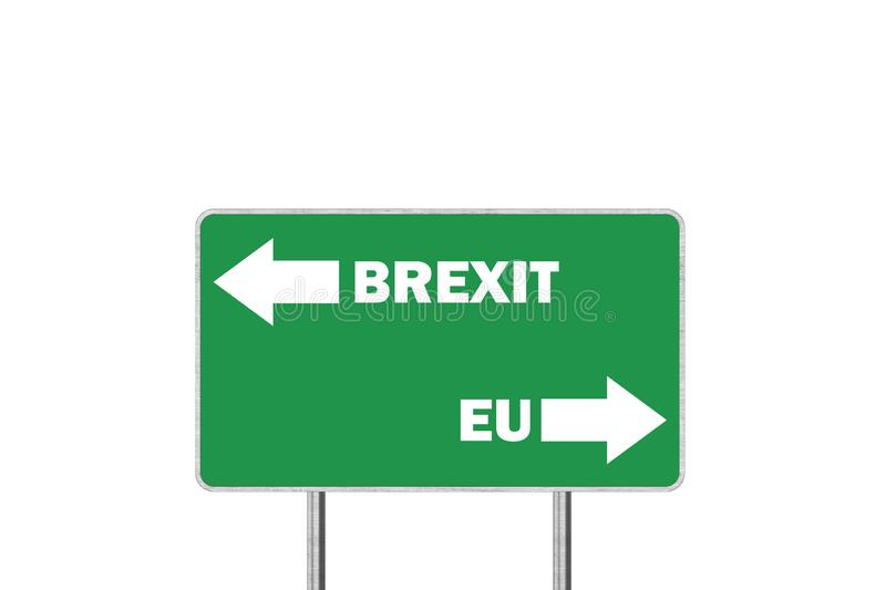 Brexit or European Union. Road sign With Arrows Depicting UK and EU Departure. Brexit, or European Union. Road sign With Arrows Depicting UK and EU Departure royalty free illustration