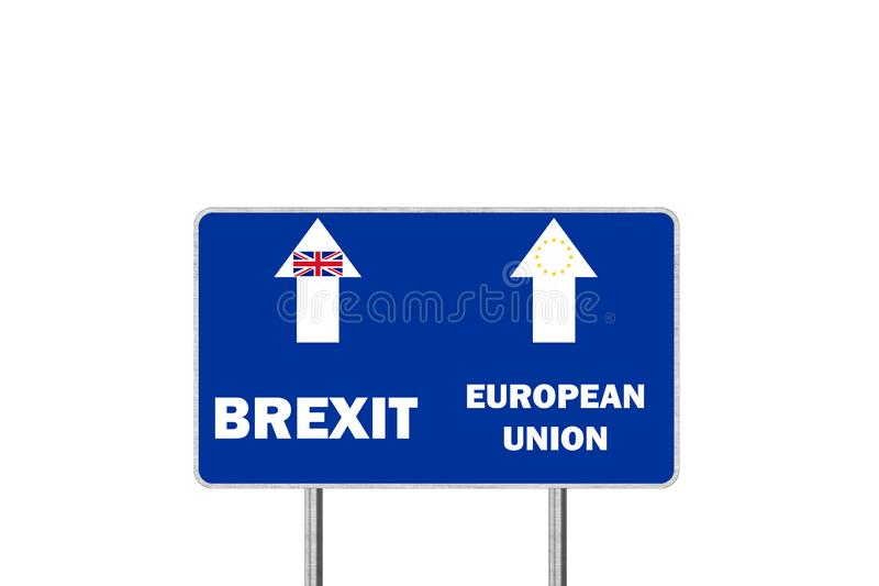 Brexit, or European Union. Road sign With Arrows Depicting UK and EU Departure. Brexit or European Union. Road sign With Arrows Depicting UK and EU Departure stock illustration