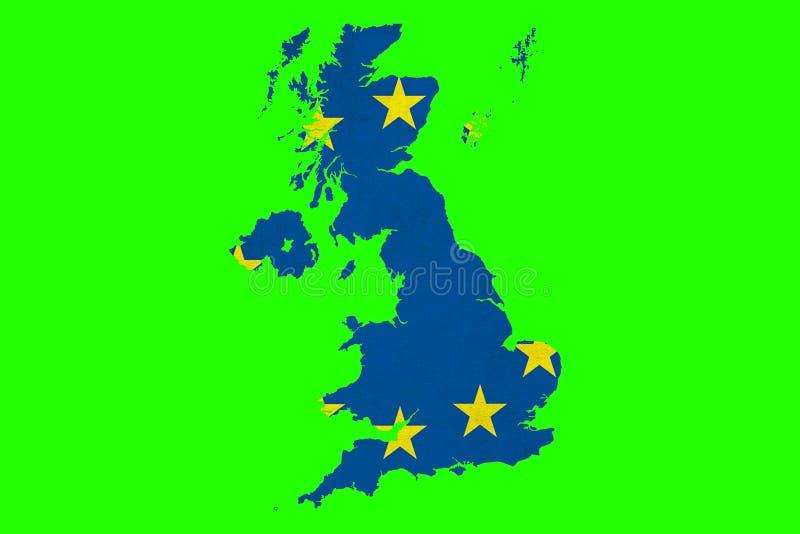 Brexit europejskiego zjednoczenia błękitna UE zaznacza na wielkiej Britain mapie na chromu royalty ilustracja