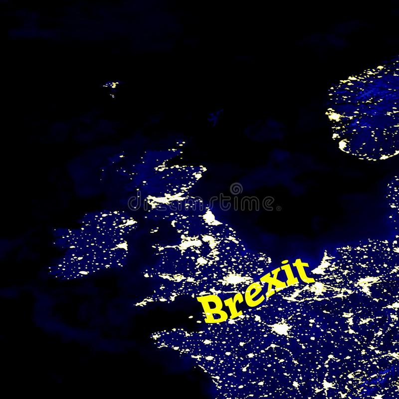 Brexit event. Europe and Great Britain map illuminated cities at night stock images