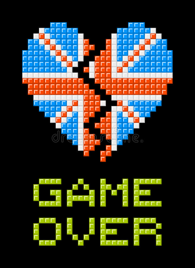 Brexit Game Over Message, UK Heart Breaking. Union Jack heart made out of pixel blocks, breaking as a consequence of the Brexit referendum vector illustration