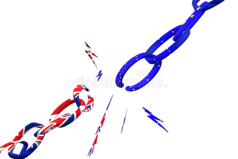 Brexit Gebroken ketting het UK die de EU verlaten royalty-vrije illustratie