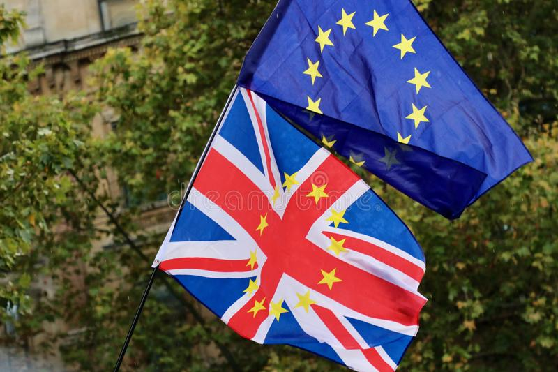 Brexit Gran Bretagna - bandiera europea e britannica immagine stock libera da diritti