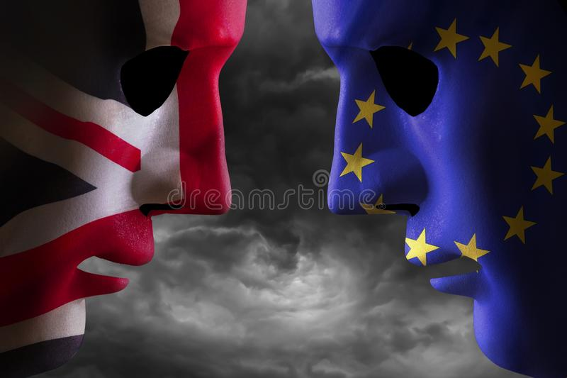 Brexit head to head EU and UK flags vector illustration