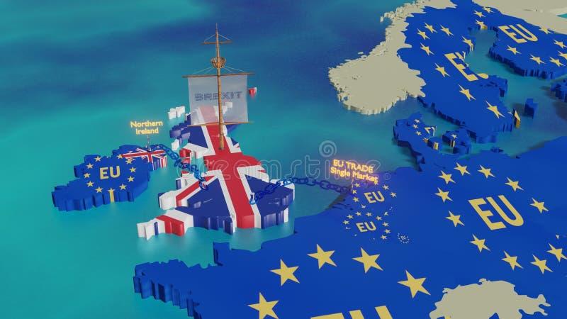 Brexit - illustration 3D - navigation BRITANNIQUE loin illustration stock
