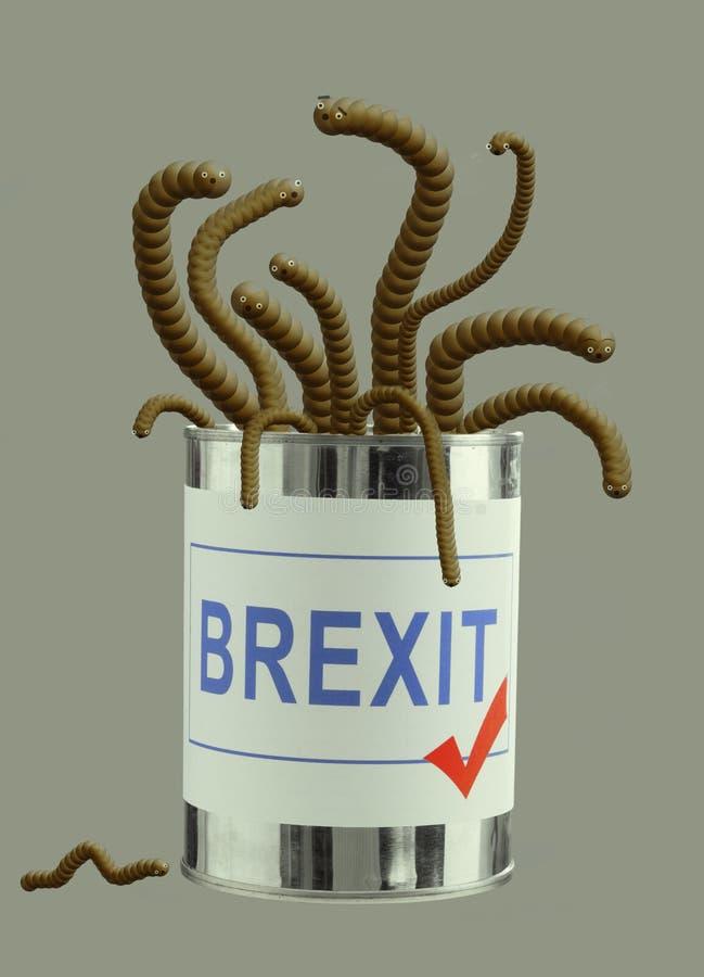 Brexit kann von den Würmern Konzept, Metapher Großbritannien-EU-Politik Nette Lebewesen stockbild
