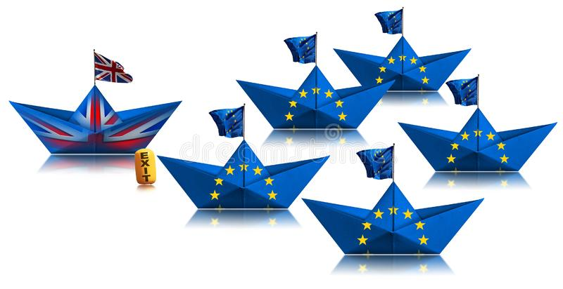 Brexit-konceptet - Storbritanniens pappersbåt lämnar EU:s flotta royaltyfri fotografi