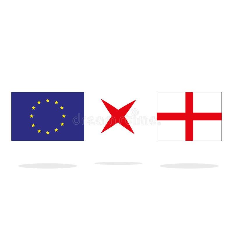 Brexit-Konzept Halbe England-Flagge mit Flagge der Europäischen Gemeinschaft Auch im corel abgehobenen Betrag vektor abbildung