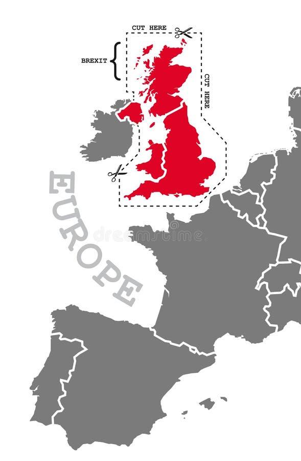 Brexit mapa w popielatej czerwieni z cięcia out linią wokoło ilustracji