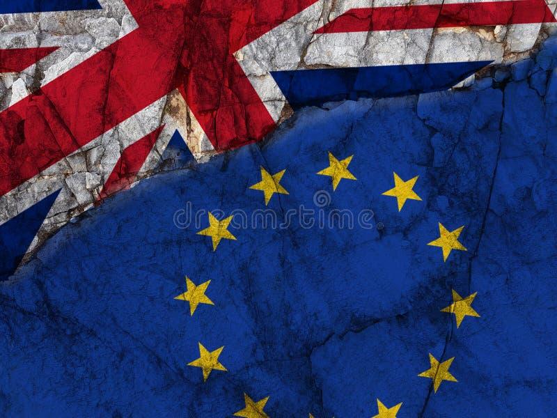 Brexit marque le rendu du fond -3d de la Grande-Bretagne d'Union européenne illustration de vecteur