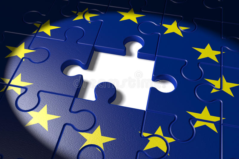 Brexit, the missing piece in a puzzle EU stock illustration