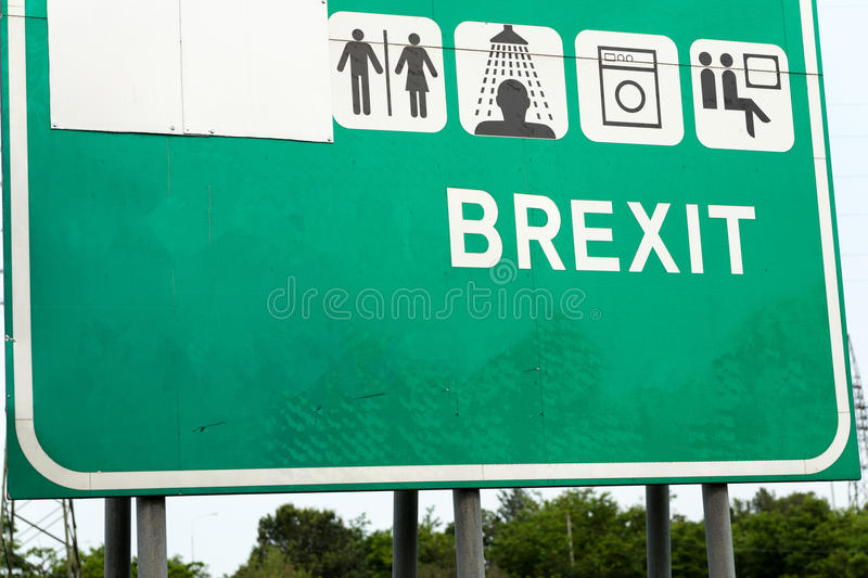 Brexit motorway style sign. Text 'brexit' in upper case white letters on green motorway type sign referring to Britain leaving the EU, European Union stock photography