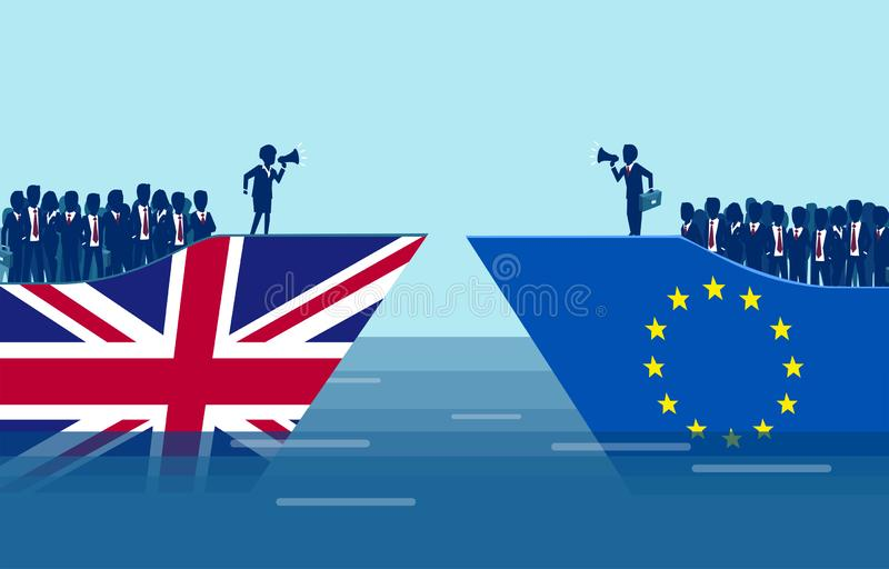 Brexit negotiations and crowd manipulation concept stock illustration