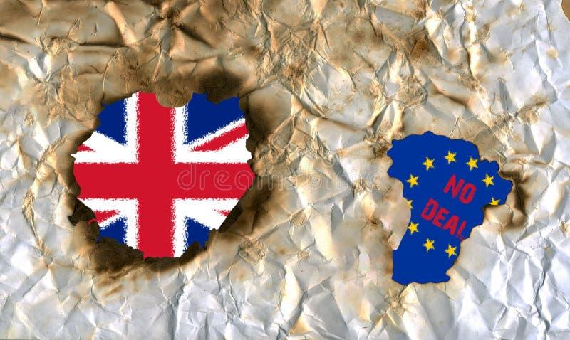 Brexit nenhum negócio, bandeiras do Reino Unido e a União Europeia, ilustração imagens de stock royalty free