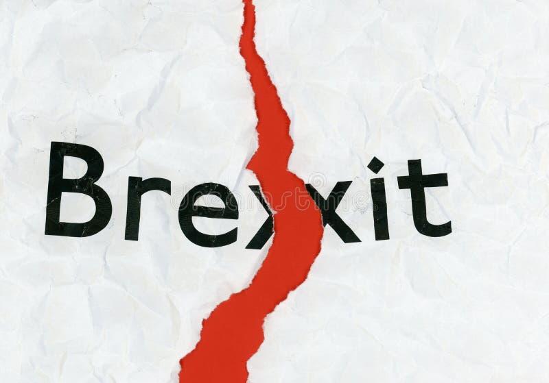 Brexit op gescheurd document stock afbeeldingen