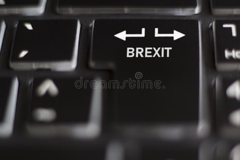 Brexit på avtal för datortangentbord eller inget avtalsbegrepp royaltyfri fotografi