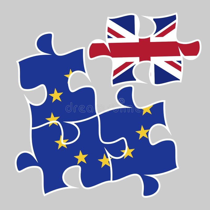 Brexit a parte removida em uma UE do enigma ilustração royalty free