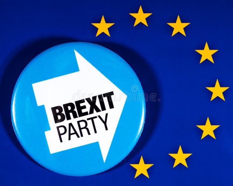 Brexit-Partei-Logo und die EU-Flagge lizenzfreies stockbild
