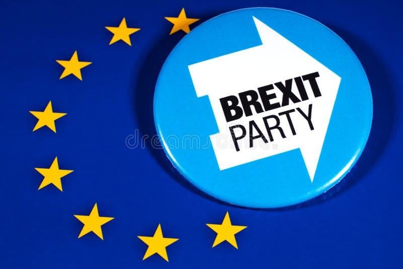 Brexit-Partei-Logo und die EU-Flagge stockbilder