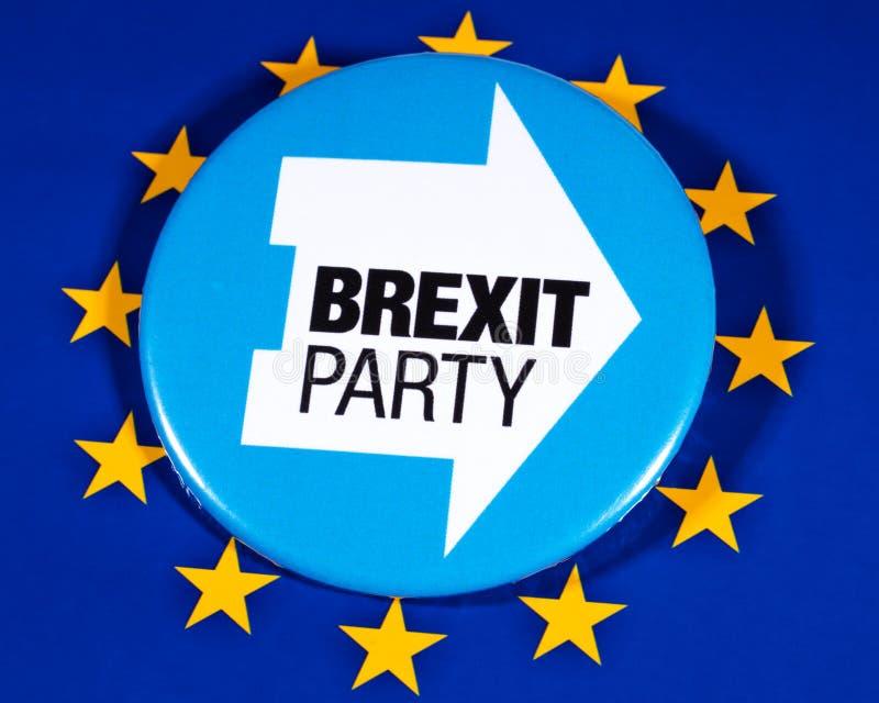 Brexit-Partei-Logo und die EU-Flagge lizenzfreies stockfoto