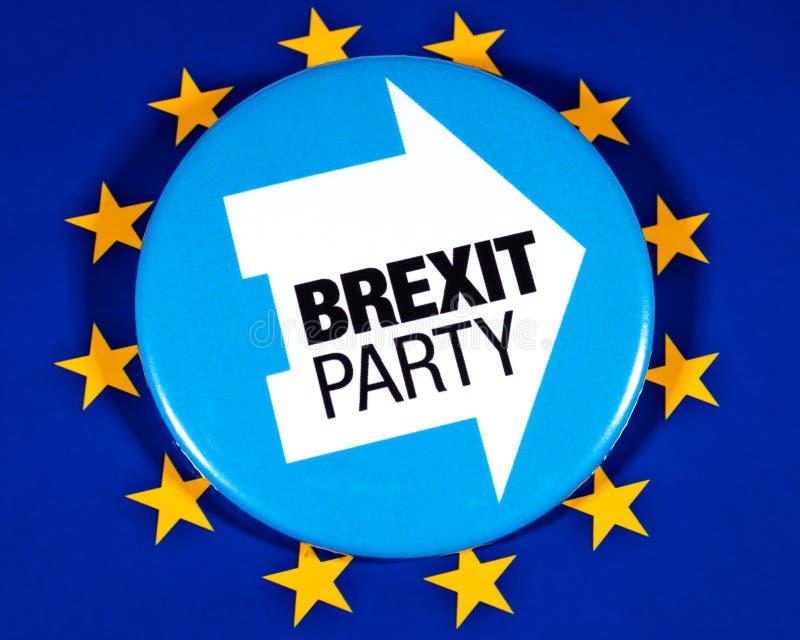 Brexit-Partei-Logo und die EU-Flagge stockfoto