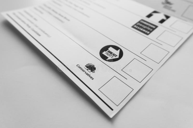Brexit party and Conservatives party logos on the ballot paper for 2019 general elections stock image