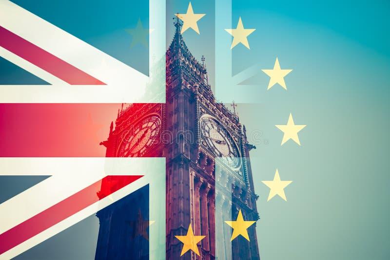 Brexit pojęcie - Union Jack chorągwiany i ikonowy Big Ben w backg royalty ilustracja