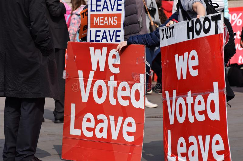 Brexit pro leave protesters in Westminster London. March 28 2019 stock photos