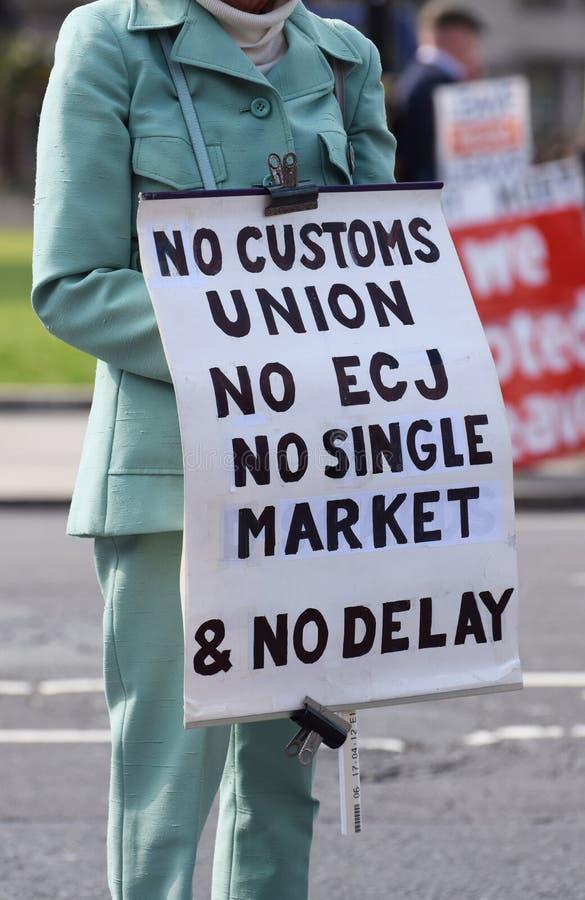 Brexit pro urlop, żadny dylowy protestujący w parlamentu kwadracie Londyn Marzec 28 2019 obraz royalty free