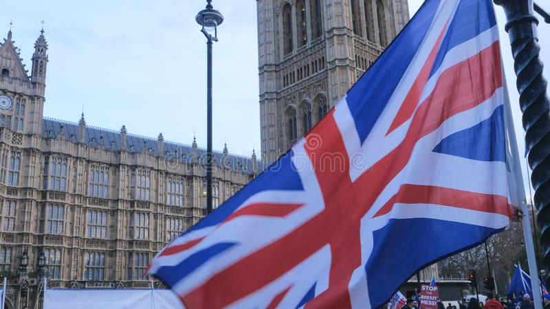 Brexit protest march and demonstration in London - LONDON, ENGLAND - DECEMBER 15, 2018 stock images