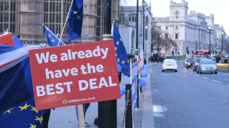 Brexit protest march and demonstration in London - LONDON, ENGLAND - DECEMBER 15, 2018 stock photography