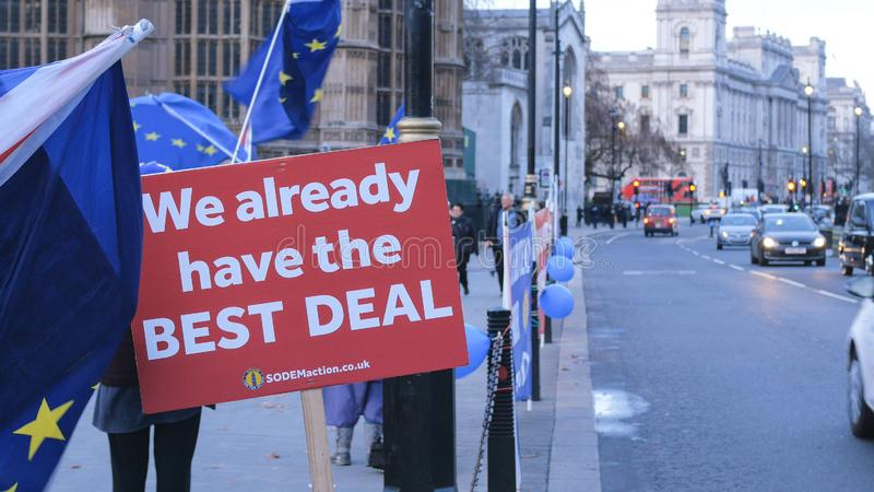 Brexit protest march and demonstration in London - LONDON, ENGLAND - DECEMBER 15, 2018 royalty free stock image